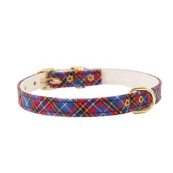 Pet Supply Imports Plaid Blue Scotch Adjustable Fancy Dog Collar, 10 Inch Neck