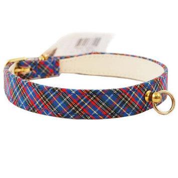 Pet Supply Imports Plaid Blue Scotch Fancy Dog Collar, 20 Inch Neck