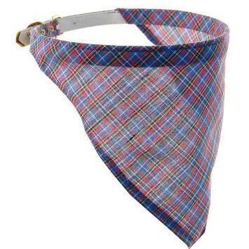 Pet Supply Imports Blue Scottie Adjustable Plaid Dog Collar, 14 Inch Neck