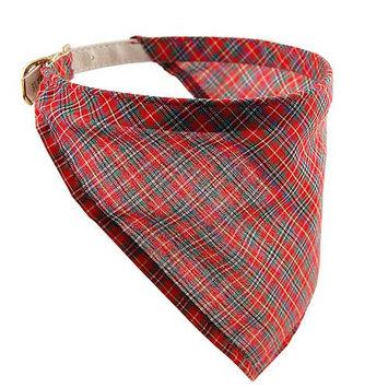 Pet Supply Imports Red Scottie Adjustable Plaid Dog Collar 18 Inch Neck