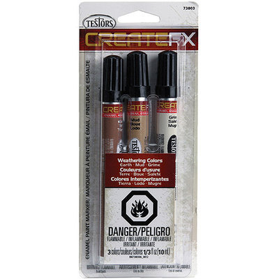 Testors Createfx Marker Set .33oz 3/Pkg - Earth, Mud and Grime