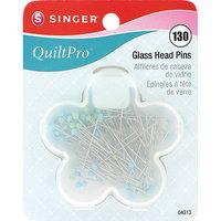 Singer Quiltpro Glass Head Pins, 130/Pkg