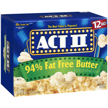 Act II 94% Fat Free Butter Popcorn, 2.71 oz, 12ct