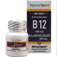 Superior Source No Shot Methylcobalamin B12 with B6 & Methylfolate - 1000 mcg - 60 MicroLingual Tablets