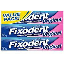 Fixodent Control Dental Adhesive Cream, To Go - 3 Ea Fixodent 2.4 oz Denture Adhesive Cream, Original 3-Pack