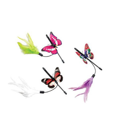 Ethical Pet Products Ethical Cat-Spot Fluttering Butterfly Mini Teaser Wand- Assorted 8 Inch