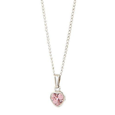 Elegant BabyA Heart Shaped Pink Cubic Zirconium Sterling Silver Necklace