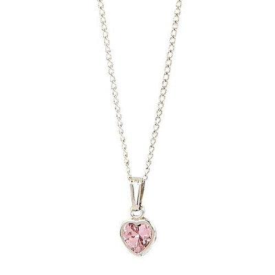 Elegant BabyA Heart Shaped Pink Cubic Zirconium Sterling Silver Necklace