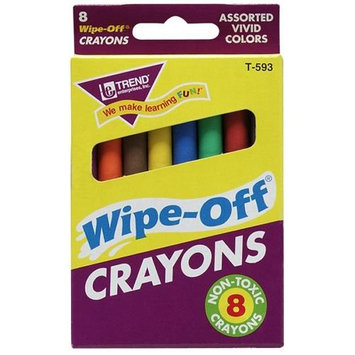 Trend Enterprises Regular Wipe Off Crayons, 8 Pack