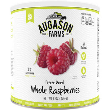 Augason Farms Emergency Food Freeze-Dried Whole Raspberries, 8 oz