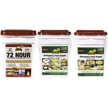 Augason Farms 72 Hour 1 Person Emergency Kit with Breakfast and Lunch & Dinner Pails, 47 pc
