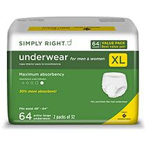Simply Right Unisex Underwear, X-Large - 64 ct.