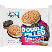 Great Value Double Filled Switch-A-Roos Chocolate & Vanilla Sandwich Cookies, 15.25 oz