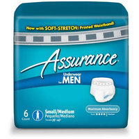 Assurance for Men Maximum Absorbency Protective Underwear, Small/Medium, 6 count