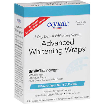 Equate 7 Day Dental Whitening System Advanced Whitening Wraps, 14ct