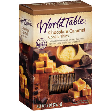 World Table Chocolate Caramel Cookie Thins, 8 oz