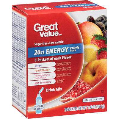 Great Value Energy Variety Pack Drink Mix, 20 count, 1.98 oz