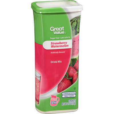 Great Value Strawberry Watermelon Drink Mix, 6 count, 2.5 oz