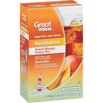 Great Value Metabolism Peach Mango Green Tea Drink Mix, 10ct