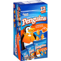 Great Value Penguins Cheddar Baked Snack Crackers, 0.9 oz, 12 count