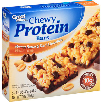 Great Value Peanut Butter & Dark Chocolate Chewy Protein Bars, 1.4 oz, 5 count