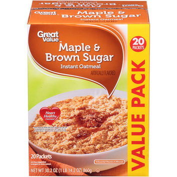 Great Value Maple & Brown Sugar Instant Oatmeal, 20 count, 30.2 oz
