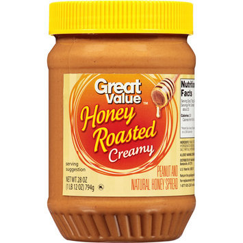 Great Value Honey Roasted Creamy Peanut Butter, 28 oz