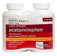 Simply Right Extra Strength Acetaminophen Caplets (600 ct, 2 pk.)