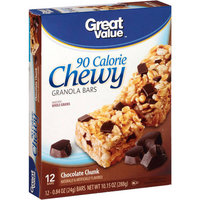Great Value Chocolate Chunk, 90 Calorie Chewy Granola Bars, 0.84 oz, 12 count