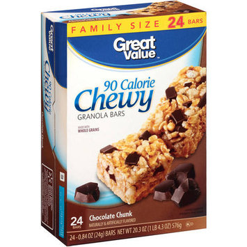 Great Value Chocolate Chunk, 90 Calorie Chewy Granola Bars, 0.84 oz, 24 count