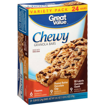 Great Value Chocolate Chunk Chewy Granola Bars Variety Pack, 0.84 oz, 24 count