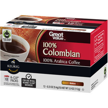 Great Value 100% Colombian Medium Roast Coffee K-Cup Packs, 0.33 oz, 12 count