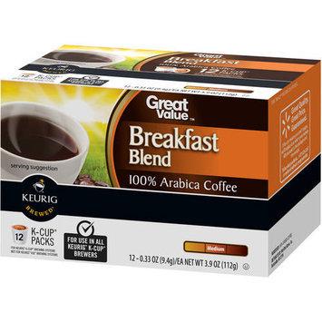 Great Value Breakfast Blend Medium Roast Coffee K-Cup Packs, 0.33 oz, 12 count