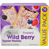 Great Value Frosted Wild Berry Toaster Pastries, 16ct