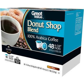 Great Value Donut Shop Blend Medium Roast Coffee K-Cup Packs, 0.38 oz, 48 count