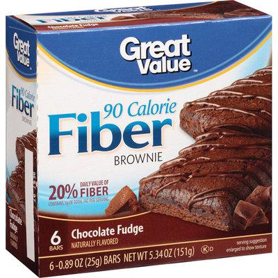 Great Value Chocolate Fudge 90 Calorie Fiber Brownie, 0.89 oz, 6 count