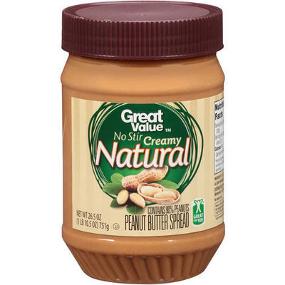 Great Value No Stir Creamy Natural Peanut Butter Spread, 26.5 oz