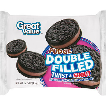 Great Value Double Fudge Filled Twist & Shout Chocolate Sandwich Cookies, 15.25 oz