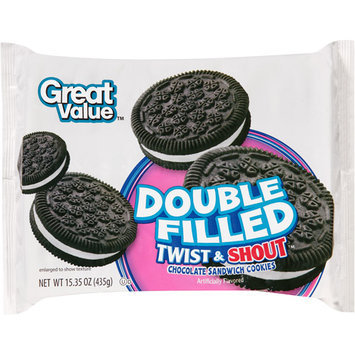 Great Value Double Filled Twist & Shout Chocolate Sandwich Cookies, 15.35 oz