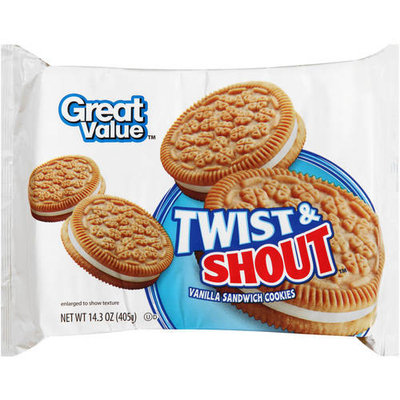 Great Value Twist & Shout Vanilla Sandwich Cookies, 15.5 oz