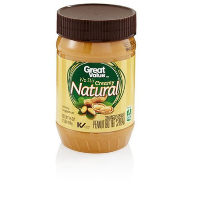Great Value No Stir Creamy Natural Peanut Butter Spread, 16 oz