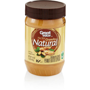 Great Value No Stir Crunchy Natural Peanut Butter Spread, 16 oz