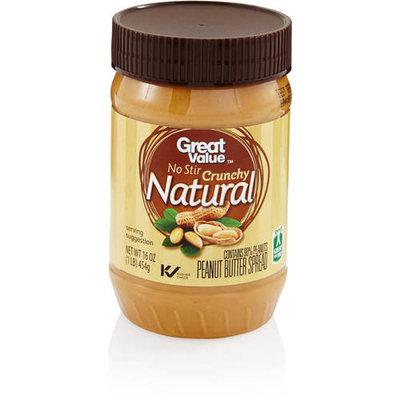 Great Value No Stir Crunchy Natural Peanut Butter Spread, 16 oz