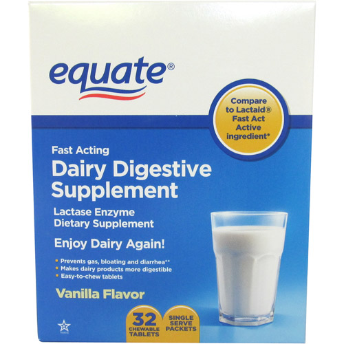 Equate Vanilla Flavor Lactase Enzyme Dietary Supplement, 32ct