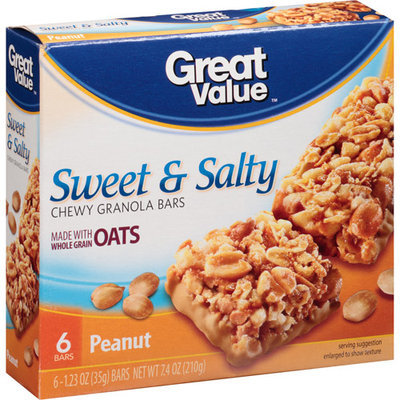 Great Value Sweet & Salty Granola Bars, 6 ct
