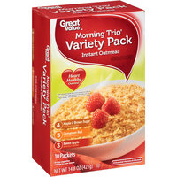 Great Value Morning Trio Instant Oatmeal Variety Pack, 10ct