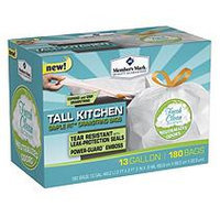 Member's Mark Tall Kitchen Simple Fit Drawstring Bags with Fresh Clean Scent (13 gal, 180ct.)