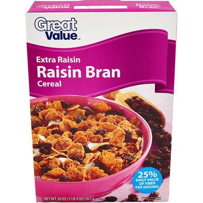 Great Value: Extra Raisin Bran Cereal, 20 Oz