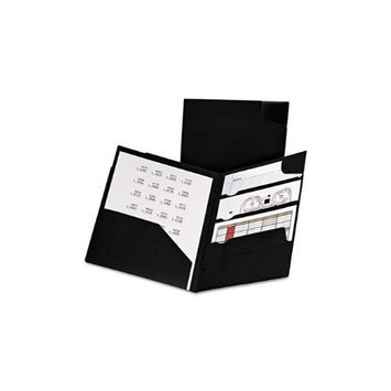 Oxford Divide-It-Up 4-Pocket Poly Folder Black