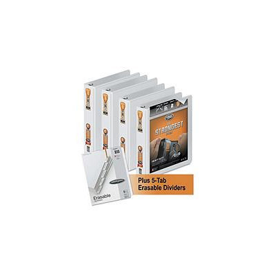 WLJ56334WU - Wilson Jones Heavy-Duty Round Ring View Binder 4-Pack w/5-Tab Divider Set; 1 1/2